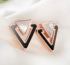 18KGP Rose Gold Stainless Steel Shell Inlay Double Triangle Stud Earrings