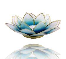 Chakra Lotus Licht mit Rand Aquamarinblau mit goldfarbenem Rand Geschenkidee