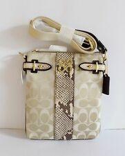 NWT Coach 44752 Colette C Sign. with Python Leather Swing Pack  ~ Pale Khaki / N
