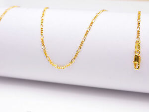 "1PCS Wholesale 16""Design Jewelry 18K Yellow Gold Filled Figaro GF Chain Necklace"
