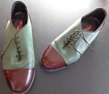 MCLEAN Vintage Mens GERMANY Golf Shoes Metal Spikes Teal Brown EUR 38 US Size 6