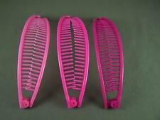 """Pink Fuchsia Magent set pack 3 banana hair clips comb claw teeth plastic 7"""" long"""