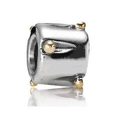 ORIGINAL PANDORA ELEMENT SILBER GOLD BEAD 790229  MIT GOLDPUNKTEN BICOLOR