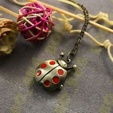 LadyBug Clock Quartz Necklace Pocket Watch Pendant Sweater Chain Ladybird beetle