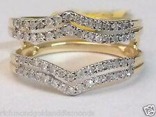 Yellow Gold Solitaire Enhancer Diamonds Ring Double Row Guard Wrap Wedding Band