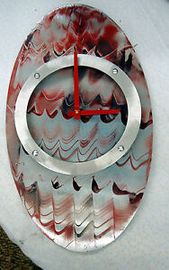 MODERN/CONTEMPORARY RED WITH BLUE ACCENTS HAND PAINTED OVAL SHAPED CLOCK #171C