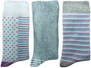 3 Pairs of Ladies JA47 Patterned Cotton Socks by Jennifer Anderton , UK Size 4-8