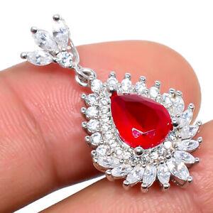 "Ruby, White Topaz Gemstone 925 Sterling Silver Jewelry Pendant 1.20"" P627-16-1"