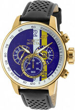Invicta Men's S1 Rally Chrono White Purple Yellow Dial Black Leather Watch 19903