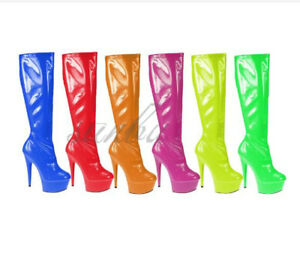 Womens Water Resistant Knee High Long Boots Side Zip Platform Stiletto Shoes New