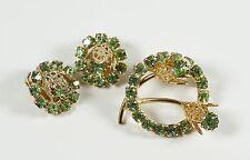 Vintage Prong Set Green Rhinestone Filigree Flowers Set Brooch Earrings Parure