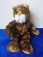 "Tabatha Cat Russ Berrie Plush 7"" Brown Tabby green eyes Stuffed Animal kitty"