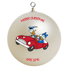 Personalized Donald and Daisy Duck Christmas Ornament Gift Add Childs Name Here