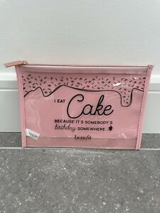 Benefit Pink Clear I Eat Cake Makeup Cosmetic Bag
