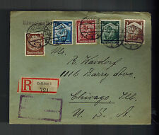 1935 Cottbus Germany Registered Cover to Chicago USA Otto Kahlo