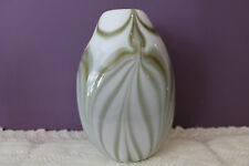 "LOVELY HAND BLOWN GREEN MARBLED 7-1/2"" VASE"