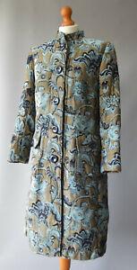 Ladies Roman Originals Beige & Blue Tapestry Style Floral Embroiderd Coat UK 12