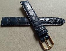 Unisex Blue Riche Mouvant Genuine Alligator 16mm Watch Band Gold Tone Buckle