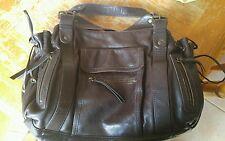 Gerard Darel 24 Hour Soft Brown Leather Tote Shopper Shoulder Bag Draw Strings
