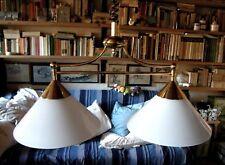 Lampada lampadario due luci ottone opalina bianca design jugendstil  art déco