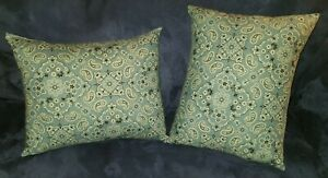 *New* Handmade Blue Paisley Decorative Throw Pillows Set of 2