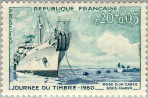 "EBS France 1960 Stamp Day - Journée du Timbre Cable Ship ""Ampere"" YT 1245 MNH**"