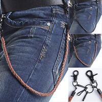 Cool Hip-hop Biker Trucker Punk PU Leather Chain Keychain Jean Wallet Chain