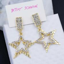 Alloy Rhinestone crystal drop Earring Golden stars Betsey Johnson Fashion rare