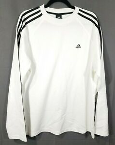Adidas white and black Shirt Size L Men's Pullover Blue100% Polyester 2008