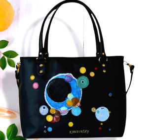Women Leather bag hand painted KANDINSKY handmade italian purse black polka