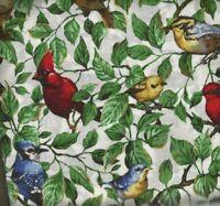 Backyard Birds cardinals bluebirds fabric