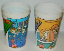 The Jetsons Movie Set of 2 Different Wendy's Plastic Promo Cups 1990, EXCELLENT