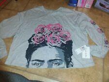 New plus 2x Frida kahlo gray long sleeve graphic shirt