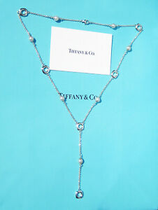 Tiffany & Co Sterling Silver Lariat Drop Pearls Cushions Pendant Chain Necklace