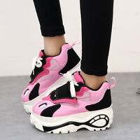 Sweet Girls Platform Shoes Womens Round Toe Lace Up Trainer Sport Shoes Sneakers