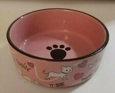 """New listing Ceramic Cat Bowl: Whisker City Pink Paris Motif - """"Bonjour Amour"""" - Mint Cond."""