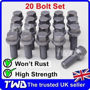 20x WHEEL BOLTS FOR VW TRANSPORTER T4 T5 T6 (COMPATIBLE FIT) ALLOY LUG NUTS -20W