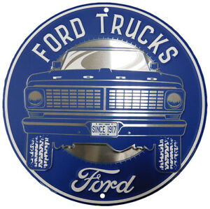 "Ford Trucks Built Tough Since 1917 Round 12"" Diameter Metal Plate Sign"