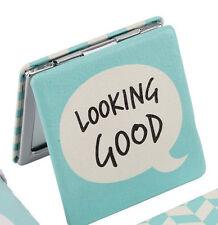 Slogan COMPACT MIRROR.'Looking Good'. GIFT. Handbag. Pop art.