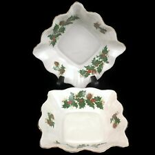 2 VTG Candy Dishes by Rosina Yuletide Fine China Christmas Holly Berries England