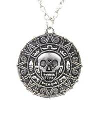 Silver Pirates of The Caribbean Aztec Coin Medallion Skull Charm Gothic Necklace