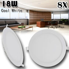8x 18W Round LED Recessed Ceiling Panel Down Lights Bulb Lamp Fixture Cool White