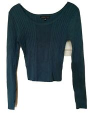 Kendall and Kylie long sleeve, ribbed, knit top, teal, size s