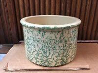 Robinson Ransbottom Low Jar 1 Qt. Green Sponge Roseville Ohio  Pottery Crock