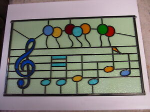 Newly crafted Leaded Stained Glass Window Panel HAPPY BIRTHDAY 712mm by 432mm