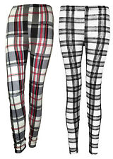 Womens Ladies Tartan Print Full Length Leggings Plus Size Check Trousers 8-14