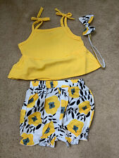 Wesidom Toddler Girls Clothes Yellow Size 0-3 Months Top Shorts Headband