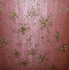 Deep Burgundy Satin Faux Wallpaper with Copper Floral Print by Mirage   FD62770