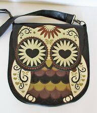 Loungefly Owl Messenger Crossbody Bag Purse brown faux leather vegan