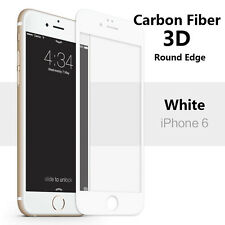 Carbon Fiber 3D Full Screen Protector Tempered Glass for iPhone 6/6S - White